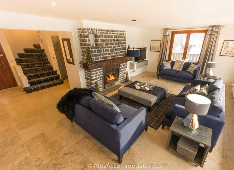 Chalet Falconnieres Samoens The vast open plan living and dining area with log fire