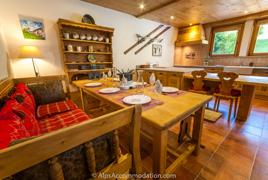 La Ferme Samoens Spacious and beautifully finished dining and kitchen area