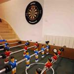 Table football and dartboard
