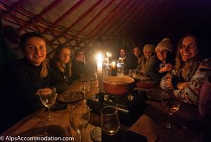 Snowshoeing followed by fondue in a yurt
