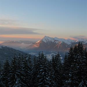 Sunset over Samoens and the Grand Massif
