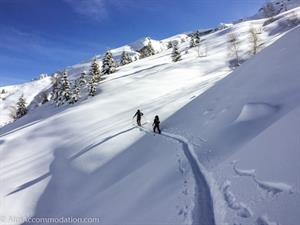 Ski touring above the marked pistes of Sixt